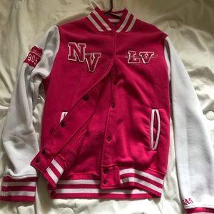 Pink puffy Las Vegas jacket